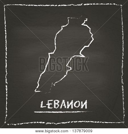 Lebanon Outline Vector Map Hand Drawn With Chalk On A Blackboard. Chalkboard Scribble In Childish St