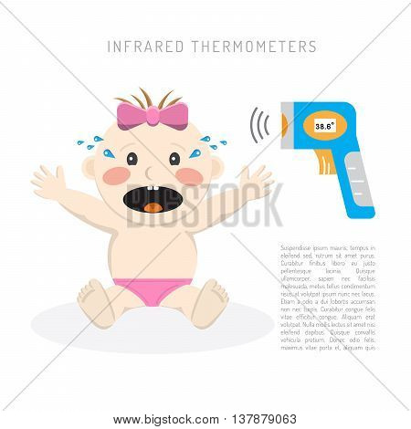 Temperature measurement of a small child vector illustration rapid detection of high temperature in a child with an infrared thermometer during an illness