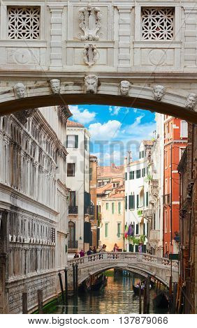 Bridge of Sighs over canal and old town of Venice, Italy