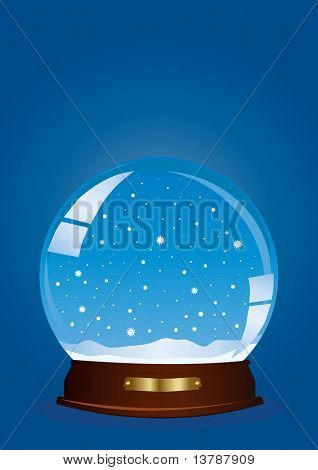 Vector illustration of a globe with falling snow against blue background