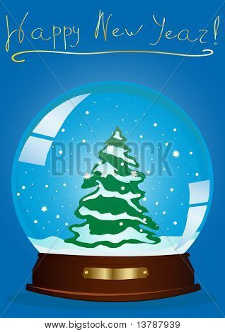 Vector illustration of a snow globe with a Christmas tree and the inscription above against blue background