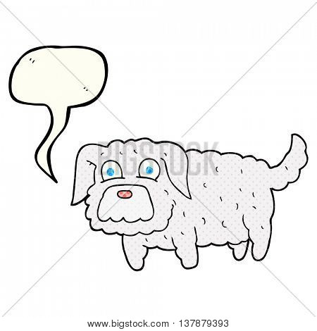 freehand drawn comic book speech bubble cartoon small dog