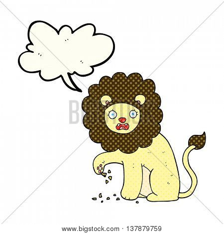 freehand drawn comic book speech bubble cartoon lion with thorn in foot
