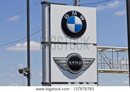 Indianapolis - Circa July 2016: A Local BMW and Mini Dealership. BMW is a Luxury Car Manufacturer Based in Germany III