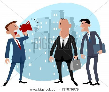 Vector illustration image of a three businessmen in the city