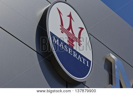 Indianapolis - Circa July 2016: Maserati Dealership Signage. Maserati is a Luxury Car Manufacturer Based in Italy IV