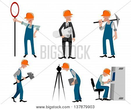 Vector illustration image of a six builders set