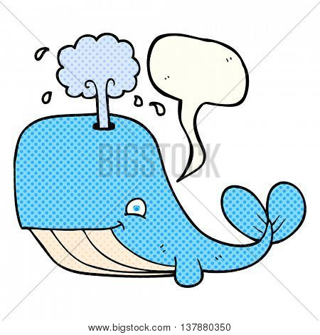 freehand drawn comic book speech bubble cartoon whale spouting water