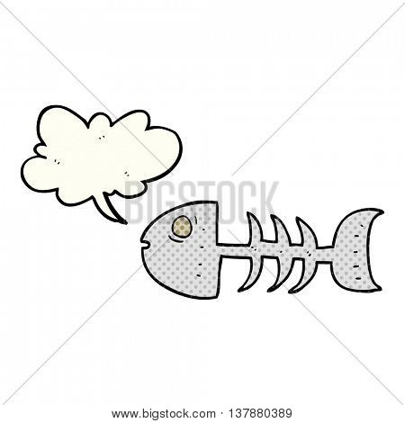 freehand drawn comic book speech bubble cartoon fish bones