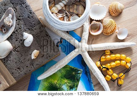 Composition of sea shells, starfish and album reminiscent of the summer holidays.