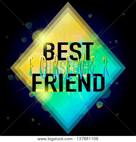 Vector illustration of Happy Friendship day typography fashion design on black background with rough color dots. Inspirational quote about best friend forever. Used as greeting cards, felicitation posters.