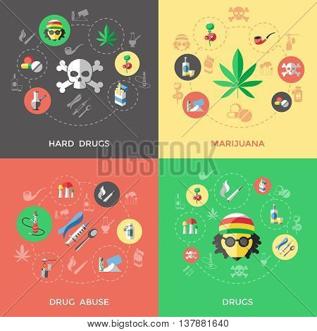 Flat drugs icon set with descriptions of hard drugs marijuana drug abuse and others drugs vector illustration