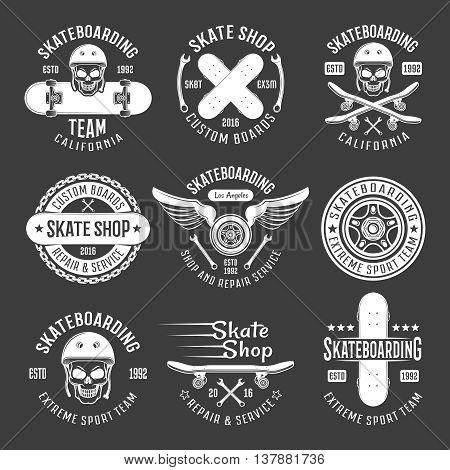 Skateboarding light emblems with descriptions of extreme sport team skate shop on black background vector illustration