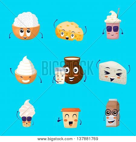 Dairy products cartoon icons set with milk drinks cheese ice cream on blue background isolated vector illustration