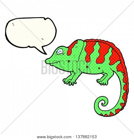 freehand drawn comic book speech bubble cartoon chameleon