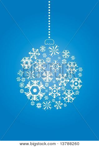 Vector illustration of Christmas ball made of snowflakes on a blue background