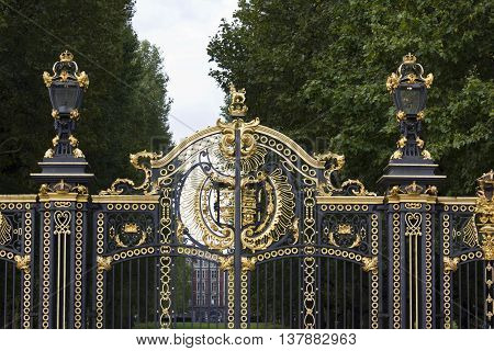 LONDON, UNITED KINGDOM - SEPTEMBER 11 2015: Architectural close up of the closed Australia gate in London in fron of Buckingham Palace facing St. James Park