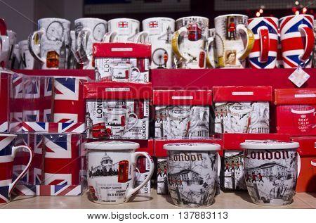 LONDON, UNITED KINGDOM - SEPTEMBER 11 2015: Cups display in a souvenir shop in London United Kingdom