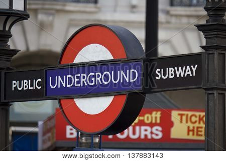LONDON, UNITED KINGDOM - SEPTEMBER 11 2015: Close up of a traditional station sign for the London public Underground