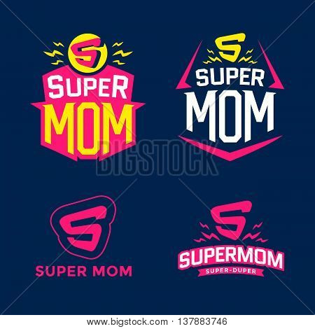 Super mom emblem. Super hero logo set. Vector illustration