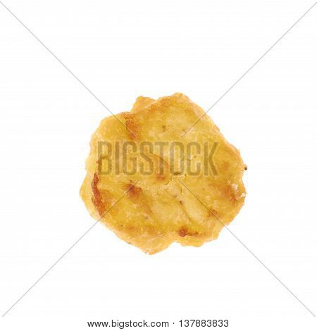 Breaded chicken nugget isolated over the white background