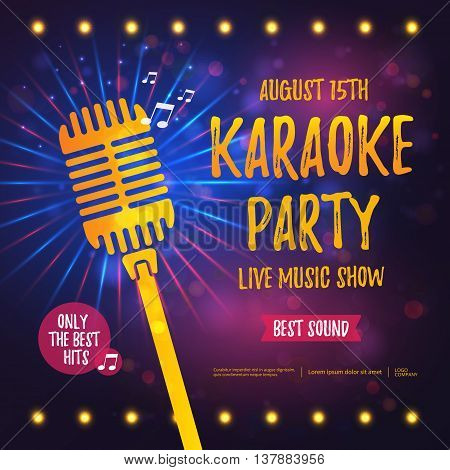 Karaoke party banner with microphone. Vector illustration