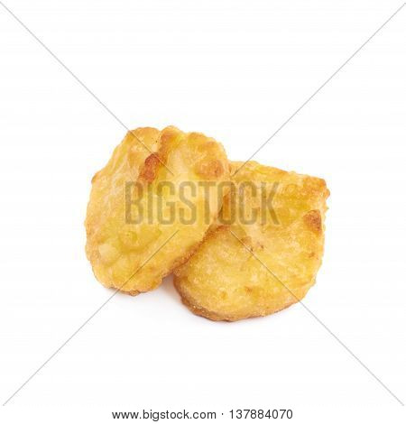 Few breaded chicken nuggets, composition isolated over the white background