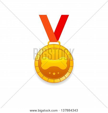 Medal for a dog with bone pattern. Vector gold medal icon.