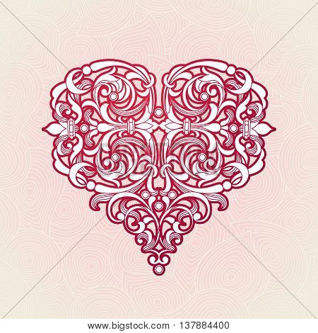 Ornate Red Heart In Victorian Style.