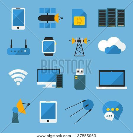 Wireless technology flat icons set with computer devices satellites radio equipment on blue background isolated vector illustration