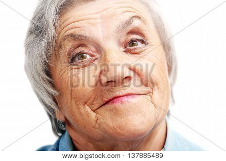 Old woman smile face. Grandmother on white.