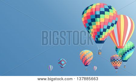 Hot air balloons fly on the blue sky background colorful hot air balloons set