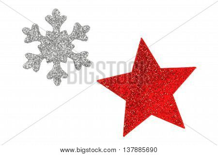 Two Christmas tree stars isolated on white background