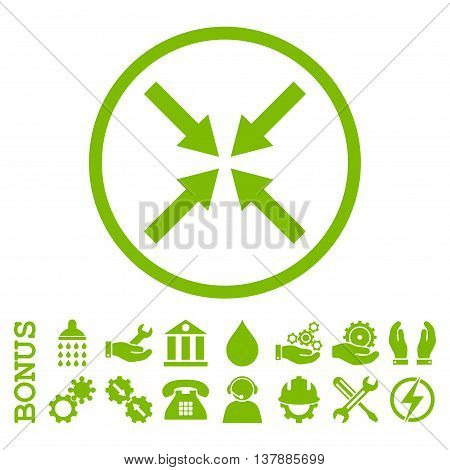 Center Arrows vector icon. Image style is a flat pictogram symbol inside a circle, eco green color, white background. Bonus images are included.