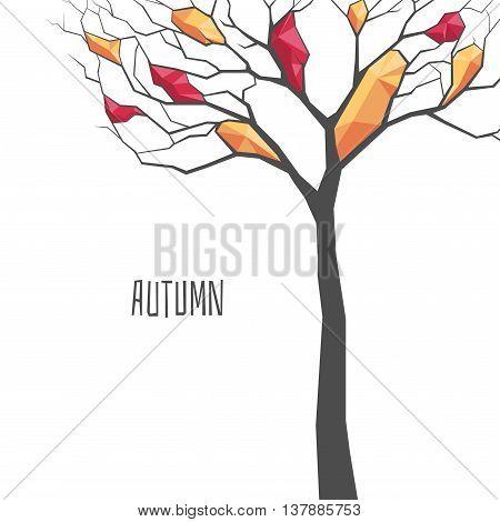 polygonal autumn tree on a white background autumn background
