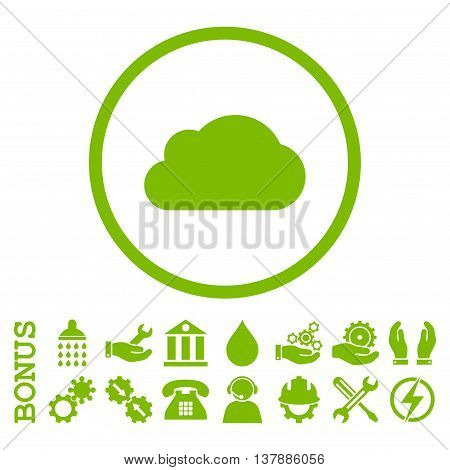 Cloud vector icon. Image style is a flat pictogram symbol inside a circle, eco green color, white background. Bonus images are included.