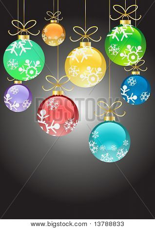 Vector illustration of Christmas color balls with ribbons hanging