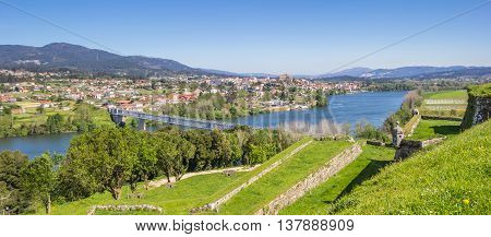 Panorama of fortified walls and river in Valenca do Minho Portugal