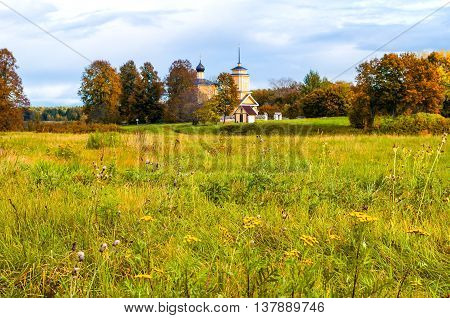 PUSHKINSKIYE GORY RUSSIA - SEPTEMBER 28 2013. Church of Saint George on fortress of Voronich - architecture landscape