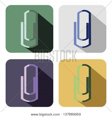 Vector icon. Set of colorful icons of clips isolated on the white background