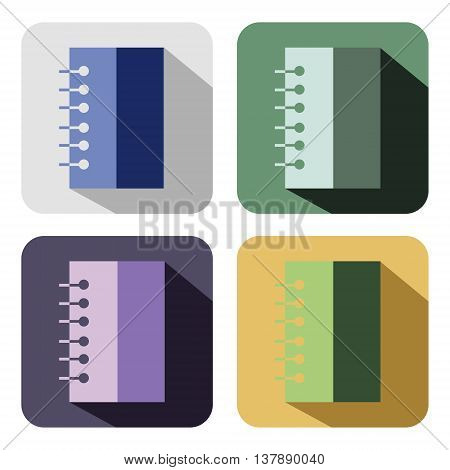 Vector icon. Set of colorful icons of notebooks isolated on the white background