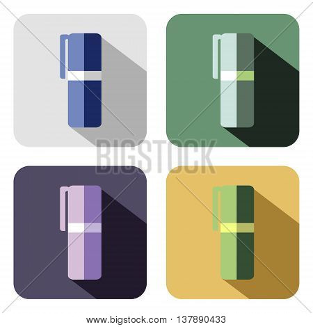 Vector icon. Set of colorful icons of felt pen isolated on the white background