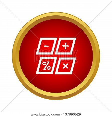 Marks calculation icon in simple style in red circle. Math symbol