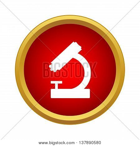Microscope icon in simple style in red circle. Laboratory equipment symbol