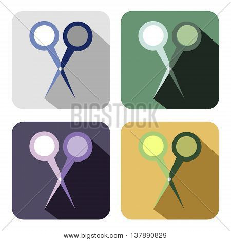 Vector icon. Set of colorful icons of scissor isolated on the white background