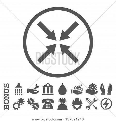 Center Arrows vector icon. Image style is a flat pictogram symbol inside a circle, gray color, white background. Bonus images are included.