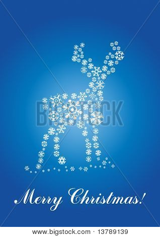 Vector illustration of fawn made of snowflakes  over text Merry Christmas