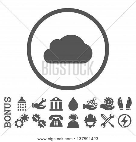 Cloud vector icon. Image style is a flat pictogram symbol inside a circle, gray color, white background. Bonus images are included.
