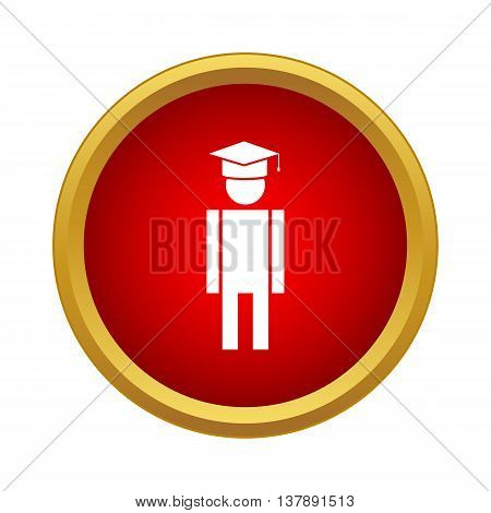 Male university student icon in simple style in red circle. Human symbol