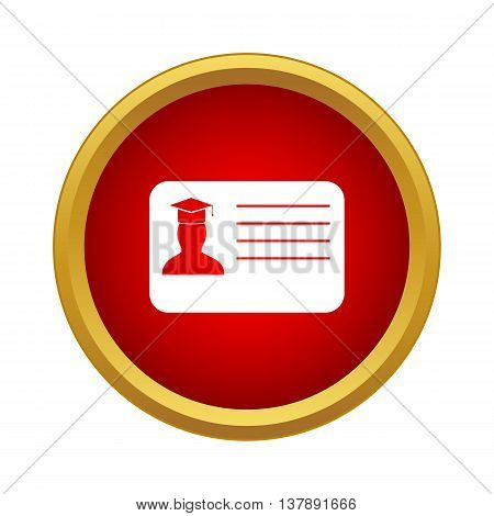 Student ID icon in simple style in red circle. Documents symbol